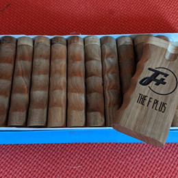 a box of F Plus dugouts on red couch