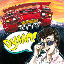 Painting of Corey Haim appreciated a sexy car