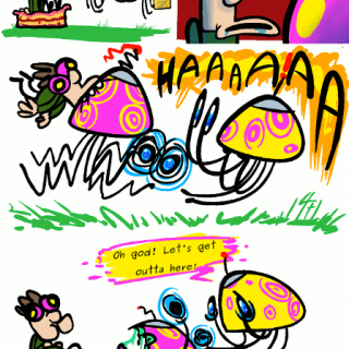 a mushroom comic strip ~ art by For The Love