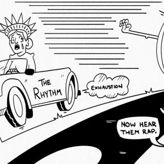 A political cartoon about Jimmyfranks chasing The Rhythm ~ art by Moxie Ramsey