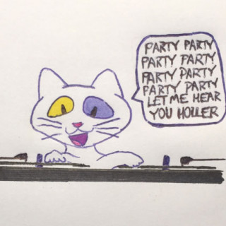STOG as a DJ, saying PARTY PARTY PARTY PARTY ~ art by Sherman Tank