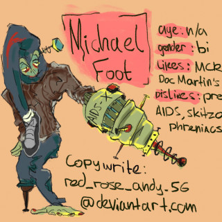Michael Foot - The HIV Destroying Machine which prolongs the life of sufferers ~ art by Spooks