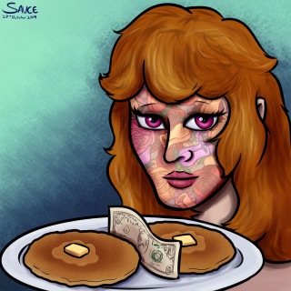 Flowerface with a dollar between her ass pancakes ~ art by Sauce
