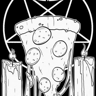 Pizza! So mote it be! ~ art by Moxie Ramsey