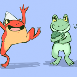 four types of frogs ~ art by Positronic