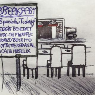 today's breakfast menu ~ art by Sherman Tank