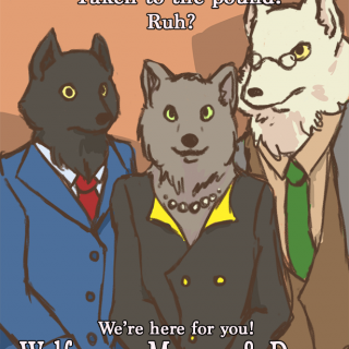 advertisement for a warewolf law firm ~ art by Positronic