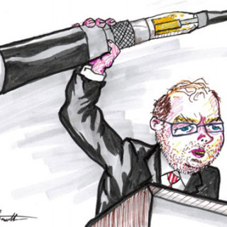 Grover Norquist demands you pry his vape from his cold dead hands ~ art by Adam Bozarth