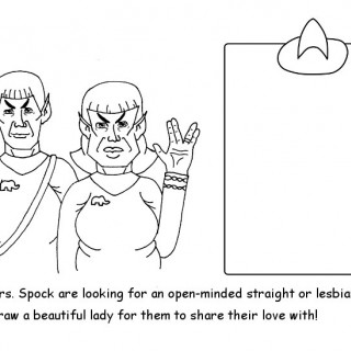 Mr and Mrs Spock are looking for an open-minded straight or lesbian woman. Draw a beautiful lady for them to share their love with! ~ art by dijon du jour