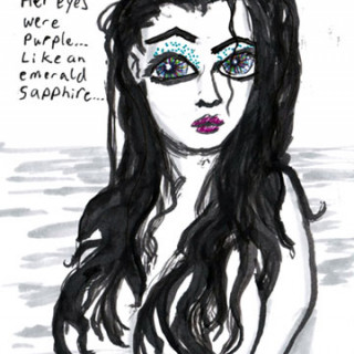Her eyes were purple like an emerald sapphire ~ art by Adam Bozarth