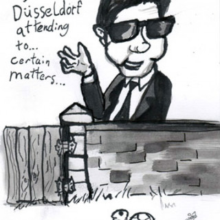 Roy Orbison is in Dusseldorf attending to certain matters ~ art by Adam Bozarth