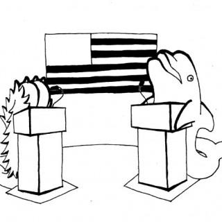 a dolphin debates a farting bigfoot ~ art by dijon du jour