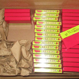 spines of Audio Garbage cassettes, in box