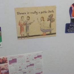 a paths duck magnet on a fridge, alongside other ones