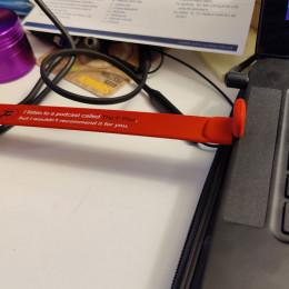 a bracelet inside a laptop