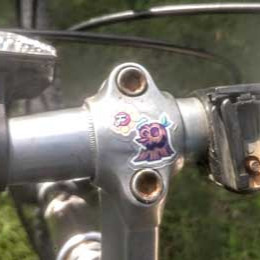 a picture of a stump sticker on a pair of handlebars